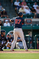Atlanta Braves first baseman Drew Lugbauer (97) at bat during a Grapefruit League Spring Training game against the Detroit Tigers on March 2, 2019 at Publix Field at Joker Marchant Stadium in Lakeland, Florida.  Tigers defeated the Braves 7-4.  (Mike Janes/Four Seam Images)