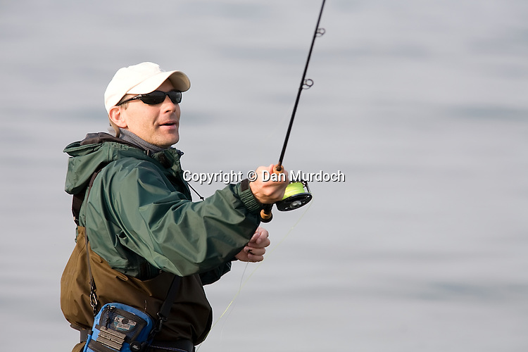 Saltwater fly fishing off the shores of Connecticut.