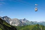 Austria, Vorarlberg, Kleinwalsertal, Riezlern: with Kanzelwand cable car up to upper station at 1.956 m, then another 20 minutes hike up to the summit Kanzelwand, summit Widderstein 2.558 m at background | Oesterreich, Vorarlberg, Kleinwalsertal, Riezlern: mit der Kanzelwandbahn hinauf zur Bergstation auf 1.956 m, danach sind es noch ca. 20 Minuten Fussweg bis zum Gipfel der Kanzelwand, im Hintergrund der Widderstein mit 2.558 m