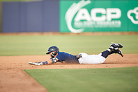 AZL Brewers Blue Anderson Melendez (5) slides into second base during an Arizona League game against the AZL Rangers on July 11, 2019 at American Family Fields of Phoenix in Phoenix, Arizona. The AZL Rangers defeated the AZL Brewers Blue 5-2. (Zachary Lucy/Four Seam Images)