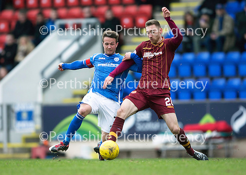 St Johnstone v Motherwell…20.02.16   SPFL   McDiarmid Park, Perth<br />Chris Millar and Louis Moult<br />Picture by Graeme Hart.<br />Copyright Perthshire Picture Agency<br />Tel: 01738 623350  Mobile: 07990 594431