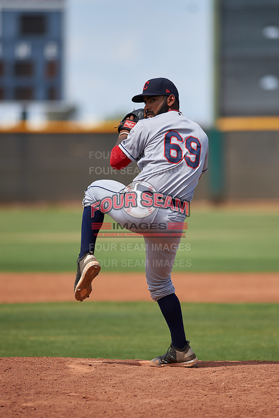 AZL Indians Red relief pitcher Serafino Brito (69) during an Arizona League game against the AZL Indians Blue on July 7, 2019 at the Cleveland Indians Spring Training Complex in Goodyear, Arizona. The AZL Indians Blue defeated the AZL Indians Red 5-4. (Zachary Lucy/Four Seam Images)