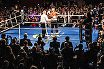 Chris Detrick  |  The Salt Lake Tribune<br /> Mitt Romney and Evander Holyfield hug after fighting at the Rail Event Center Friday May 15, 2015.  Holyfield won after Romney threw in the towel after two rounds. Friday's Romney-Holyfield showdown raised over $1 million for CharityVision, a 20-year-old nonprofit dedicated to saving the eyesight of impoverished people in developing nations.