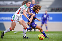 Marie Detruyer (17) of OHL pictured fighting for the ball with Kassandra Missipo (12) of Anderlecht  during a female soccer game between Oud Heverlee Leuven and RSC Anderlecht on the 2nd matchday of play off 1 in the 2020 - 2021 season of Belgian Womens Super League , saturday 17 th of April 2021  in Heverlee , Belgium . PHOTO SPORTPIX.BE | SPP | DAVID CATRY