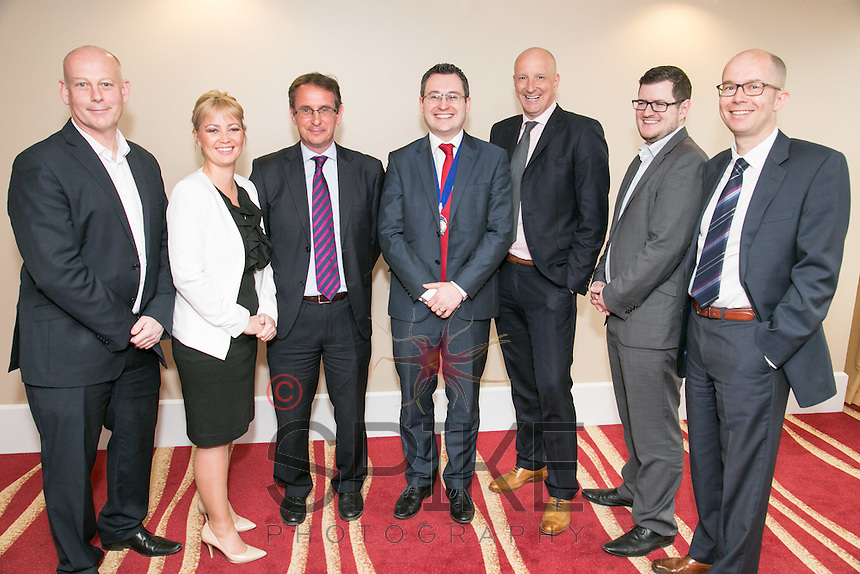 Pictured at Nottingham City Business Club is club president Nic Elliott of Actons (centre)  with speakers Ian Roberts (left) and Tim Hatton (rright) from Notts County Football Club, Christine Yardley and Matt Coleman (second right) from club sponsors Actons and Simon Phippen (third left) and Anthony Clark ((third from right) both of club sponsors Riverfall