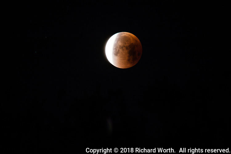 The blue moon lunar eclipse, January 31, 2018,  coming to an end.