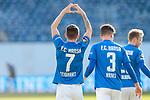 20.02.2021, xtgx, Fussball 3. Liga, FC Hansa Rostock - SV Waldhof Mannheim, v.l. Nico Neidhart (Hansa Rostock, 7) Jubel, Torjubel, jubelt ueber das Tor, celebrate the goal, celebration Herz<br /> <br /> (DFL/DFB REGULATIONS PROHIBIT ANY USE OF PHOTOGRAPHS as IMAGE SEQUENCES and/or QUASI-VIDEO)<br /> <br /> Foto © PIX-Sportfotos *** Foto ist honorarpflichtig! *** Auf Anfrage in hoeherer Qualitaet/Aufloesung. Belegexemplar erbeten. Veroeffentlichung ausschliesslich fuer journalistisch-publizistische Zwecke. For editorial use only.