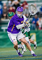 6 April 2019:  University at Albany Great Dane Goalkeeper Nate Siekierski, a Junior from Parker, CO, in action against the University of Vermont Catamounts at Virtue Field in Burlington, Vermont. The Cats rallied to defeat the Danes 10-9 in America East divisional play. Mandatory Credit: Ed Wolfstein Photo *** RAW (NEF) Image File Available ***