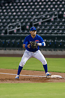 AZL Cubs first baseman Luis Hidalgo (18) on defense against the AZL Angels on August 31, 2017 at Sloan Park in Mesa, Arizona. AZL Cubs defeated the AZL Angels 9-2. (Zachary Lucy/Four Seam Images)