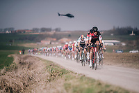 Team BMC taking control over the peloton on the Plugstreets<br /> <br /> 81st Gent-Wevelgem in Flanders Fields (1.UWT)<br /> Deinze > Wevelgem (251km)