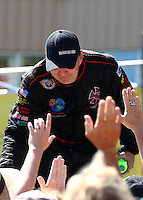 Jul. 21, 2013; Morrison, CO, USA: NHRA top fuel dragster driver Scott Palmer during the Mile High Nationals at Bandimere Speedway. Mandatory Credit: Mark J. Rebilas-