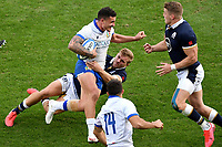 Marco Zanon of Italy is tackled by Duhan van der Merwe of Scotland during the rugby Autumn Nations Cup's match between Italy and Scotland at Stadio Artemio Franchi on November 14, 2020 in Florence, Italy. Photo Andrea Staccioli / Insidefoto