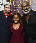 """Lin-Manuel Miranda, Stephanie Mills and BeBe Winans backstage after a Song preview performance of the Bebe Winans Broadway Bound Musical """"Born For This"""" at Feinstein's 54 Below on November 5, 2018 in New York City."""