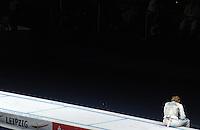 European Championships Fencing 2010 / Fecht Europameisterschaft 2010 in Leipzig - Competition Championat d'europe - im Bild: the new european champion women foil Valentina Vezzali (ITA) sitting alone on the piste  . Foto: Norman Rembarz..Norman Rembarz , Autorennummer 41043728 , Augustenstr. 2, 04317 Leipzig, Tel.: 01794887569, Hypovereinsbank: BLZ: 86020086, KN: 357889472, St.Nr.: 231/261/06432 - Jegliche kommerzielle Nutzung ist honorar- und mehrwertsteuerpflichtig! Persönlichkeitsrechte sind zu wahren. Es wird keine Haftung übernommen bei Verletzung von Rechten Dritter. Autoren-Nennung gem. §13 UrhGes. wird verlangt. Weitergabe an Dritte nur nach  vorheriger Absprache..