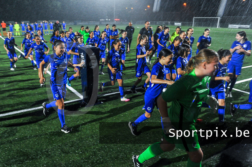 KRC Genk youth before a female soccer game between  Racing Genk Ladies and Sporting du pays de Charleroi on the fourth matchday of the 2021-2022 season of the Belgian Scooore Womens Super League , friday 10 September 2021  in Genk , Belgium . PHOTO SPORTPIX | STIJN AUDOOREN