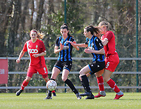 Febe Vanhaecke (3) of Club Brugge and Nicky Van Den Abbeele (28) of Club Brugge try to block Aster Janssens (5) of Standard  so that she cannot get to the ball during a female soccer game between Standard Femina de Liege and Club Brugge YLA on the 2nd matchday in play off 1 of the 2020 - 2021 season of Belgian Scooore Womens Super League , saturday 17 th of April 2021  in Angleur , Belgium . PHOTO SPORTPIX.BE | SPP | SEVIL OKTEM