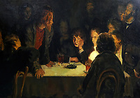 KJ1FK6 Terrorists'. Painted by the Russian artist, Kazmichev. [1930]. Depicts Russian revolutionaries meeting at night to plot against the Tsar Nicholas II