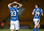 St Johnstone v Ross County…..29.12.19   McDiarmid Park   SPFL<br />Matty Kennedy holds his head after a missed chance<br />Picture by Graeme Hart.<br />Copyright Perthshire Picture Agency<br />Tel: 01738 623350  Mobile: 07990 594431