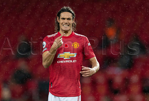 1st November 2020, Old Trafford, Manchester, England;  Manchester Uniteds substitute Edinson Cavani gestures during the English Premier League match between Manchester United FC and Arsenal FC at Old Trafford