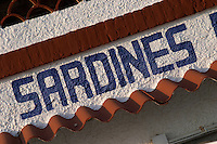 Sign saying sardines on a cafe restaurant. Sitges, Catalonia, Spain