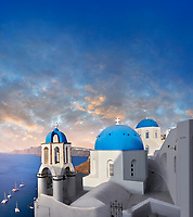 Sunset over the traditional Greek Orthodox churches of Oia (ia), Cyclades Island of  Thira, Santorini, Greece.<br /> <br /> The settlement of Oia had been mentioned in various travel reports before the beginning of Venetian rule, when Marco Sanudo founded the Duchy of Naxos in 1207 and feudal rule was instituted on Santorini. n 1537, Hayreddin Barbarossa conquered the Aegean islands and placed them under Sultan Selim II. However, Santorini remained under the Crispo family until 1566, passing then to Joseph Nasi and after his death in 1579 to the Ottoman Empire.