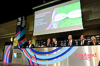 (L-R) England Rugby 2015 Chief Executive, Debbie Jevans; Chairman Andy Cosslett; IRB and RWCL Chairman, Bernard Lapasset; IRB CEO and RWCL Managing Director, Brett Gosper; Ambassador and World Cup Winner, Lawrence Dallaglio; England Rugby 2015 Board Member and RFU CEO, Ian Ritchie during the Rugby World Cup 2015 Venues and Match Schedule Launch at Twickenham Stadium on Thursday 2nd May 2013 (Photo by Rob Munro)