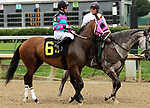 June 22, 2019 : Classy Act (Adam Beschizza) in the post parade of the Roxelana Stakes, Churchill Downs, Louisville, Kentucky. Trainer Joe Sharp, Owner Carl R. Moore Management LLC (Carl R. Moore). By Into Mischief x Acting Class (Distorted Humor) Mary M. Meek/ESW/CSM