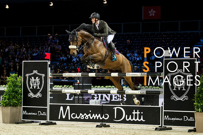 Olivier Philippaerts on Henna de Goedereede competes during competition Table A Against the Clock at the Longines Masters of Hong Kong on 19 February 2016 at the Asia World Expo in Hong Kong, China. Photo by Li Man Yuen / Power Sport Images