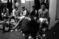 Pix:Michael Steele/SWpix...Soccer. Egypt Football Team, dressing room...COPYRIGHT PICTURE>>SIMON WILKINSON..An Egyptian footballer receives treatment.