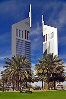 Emirates Towers.  Prestige office towers.   Dubai, United Arab Emirates.
