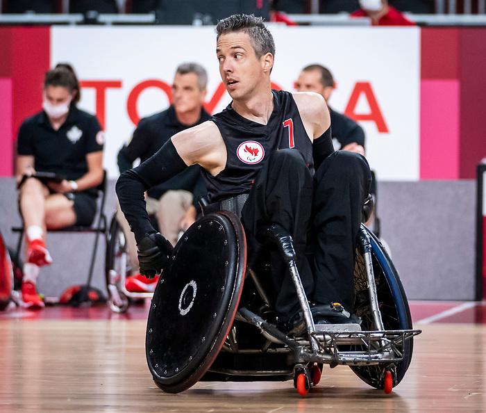 Byron Green, Tokyo 2020 - Wheelchair Rugby // Rugby en fauteuil roulant.<br /> Canada takes on The USA in the preliminary round // Le Canada affronte Les Etats-Unis d'Amérique au tour préliminaire. 26/08/2021.