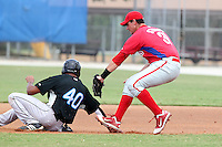Philadelphia Phillies first baseman Robert Stumpo #31 tags out Derrick Loveless #40 in a rundown during an Instructional League game against the Toronto Blue Jays at Englebert Complex on October 12, 2011 in Dunedin, Florida.  (Mike Janes/Four Seam Images)