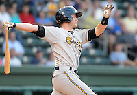 Infielder Rob Lyerly (16) of the Charleston RiverDogs, Class A affiliate of the New York Yankees, in a game against the Greenville Drive on May 27, 2010, at Fluor Field at the West End in Greenville, S.C. Photo by: Tom Priddy/Four Seam Images