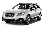 2017 Subaru Outback Premium 5 Door Wagon angular front stock photos of front three quarter view