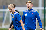 St Johnstone Training….14.08.20<br />Liam Craig having fun with Ali McCann during training this morning at McDiarmid Park after making his 400th appearance against Rangers on Wednesday night.<br />Picture by Graeme Hart.<br />Copyright Perthshire Picture Agency<br />Tel: 01738 623350  Mobile: 07990 594431