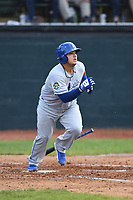 Burlington Royals Jesus Atencio (31) takes off for first base during a game with the Bristol Pirates at Boyce Cox Field on June 19, 2019 in Bristol, Virginia. The Royals defeated the Pirates 1-0. (Tracy Proffitt/Four Seam Images)