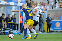 20200304 Faro , Portugal : Swedish Sofia Jakobsson (10) and German defender Kathrin Hendrich (3) pictured during the female football game between the national teams of Germany and Sweden on the first matchday of the Algarve Cup 2020 , a prestigious friendly womensoccer tournament in Portugal , on wednesday 4 th March 2020 in Faro , Portugal . PHOTO SPORTPIX.BE | STIJN AUDOOREN