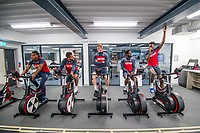 (L-R) Renato Sanches, Wayne Routledge, Alfie Mawson, Nathan Dyer and Tammy Abraham exercise on bikes during the Swansea City training session at The Fairwood training Ground, Swansea, Wales, UK. Thursday 16 November 2017