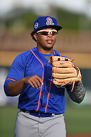 St. Lucie Mets third baseman Jhoan Urena (13) warms up before a game against the Bradenton Marauders on April 11, 2015 at McKechnie Field in Bradenton, Florida.  St. Lucie defeated Bradenton 3-2.  (Mike Janes/Four Seam Images)
