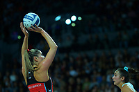Tactix goal attack Te Paea Selby-Rickit shoots for goal during the ANZ Premiership netball final between Northern Mystics and Mainland Tactix at Spark Arena in Auckland, New Zealand on Sunday, 8 August 2021. Photo: Dave Lintott / lintottphoto.co.nz