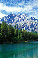 Canada, Alberta, Banff National Park, mountain and river with forest