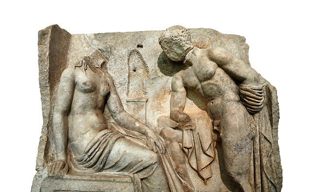"""Close up of a Roman Sebasteion relief  sculpture of Io and Argos Aphrodisias Museum, Aphrodisias, Turkey.     Against a white background.<br /> <br /> A powerful hero is folding a sword gazing closely at a half naked and dishevelled young heroine who sits on a chest like stool. Between, on a pillar base stood a small, separately added statue of a goddess ( now missing). The scene follows a scheme used in the relief panels """"Io guarded by Argos"""". Io was one of Zeus's lovers, and Argos was a watchful giant sent to guard her by Hera, Zeus's wife."""