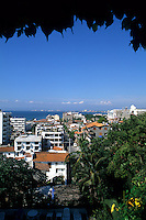Beautiful downtown buildings from cliffs in Puerto Vallarta Mexico .