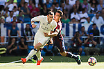 Gareth Bale of Real Madrid battles for the ball with Dani Garcia of SD Eibar during their La Liga match between Real Madrid CF and SD Eibar at the Santiago Bernabéu Stadium on 02 October 2016 in Madrid, Spain. Photo by Diego Gonzalez Souto / Power Sport Images