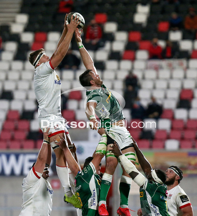 Friday 2nd October 2020 | Ulster Rugby vs Benetton Rugby<br /> <br /> Matty Rea secures this lineout ball during the PRO14 Round 1 clash between Ulster Rugby and Benetton Rugby at Kingspan Stadium, Ravenhill Park, Belfast, Northern Ireland. Photo by John Dickson / Dicksondigital