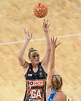 6th June 2021; Ken Rosewall Arena, Sydney, New South Wales, Australia; Australian Suncorp Super Netball, New South Wales, NSW Swifts versus Giants Netball; Jo Harten of Giants Netball takes a shot at goal