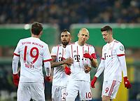 06.02.2018, Football DFB Pokal 2017/2018,   SC Paderborn 07 - FC Bayern Muenchen, in Benteler-Arena Paderborn. celebration Bayern Muenchen   0:5 ,  Sebastian Rudy (Bayern Muenchen) , Arturo Vidal (Bayern Muenchen) , scorer Arjen Robben (Bayern Muenchen) and Robert Lewandowski (Bayern Muenchen)  *** Local Caption *** © pixathlon<br /> <br /> +++ NED + SUI out !!! +++<br /> Contact: +49-40-22 63 02 60 , info@pixathlon.de