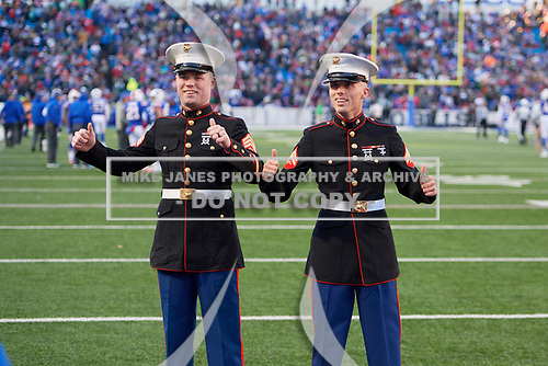 On field ceremony to recognize two brothers serving in the Marines during an NFL football game between the New York Jets and Buffalo Bills, Sunday, December 9, 2018, in Orchard Park, N.Y.  (Mike Janes Photography)