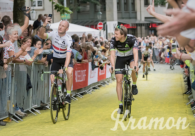"fresh British Champion Steve Cummings (GBR/Dimension Data) & Edvald Boasson Hagen (NOR/Dimension Data) taking a selfie up the Yellow Brick Road<br /> <br /> ""Le Grand Départ"" <br /> 104th Tour de France 2017 <br /> Team Presentation in Düsseldorf/Germany"