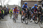 The peloton including Garmin-Barracuda's Johan Van Summeren (BEL) and Heinrich Haussler (GER) climbs Molenberg during the 96th edition of The Tour of Flanders 2012, running 256.9km from Bruges to Oudenaarde, Belgium. 1st April 2012. <br /> (Photo by Eoin Clarke/NEWSFILE).